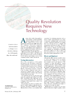 Quality revolution requires new technology