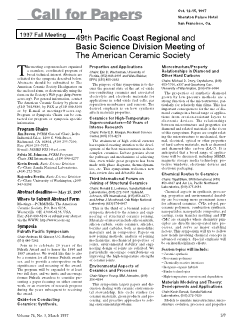 1997 fall meeting—49th Pacific Coast Regional and Basic Science Division Meeting of The American Ceramic Society