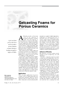 Gelcasting foams for porous ceramics