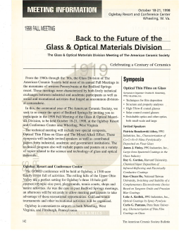 Back to the Future of the Glass & Optical Materials Division 1998 Fall Meeting