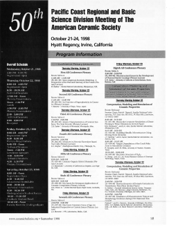 50th Pacific Coast Regional and Basic Science Division Meeting of The American Ceramic Society