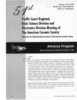 51st Pacific Coast Regional, Basic Science Division and Electronics Division Meeting of ACerS