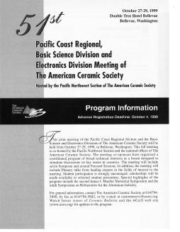 51st Pacific Coast Regional, Basic Science Division and Electronics Division Meeting