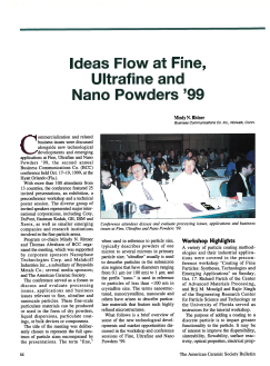 Ideas Flow at Fine, Ultrafine, and Nano Powders '99