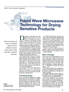 Rapid Wave Microwave Technology for Drying Sensitive Products