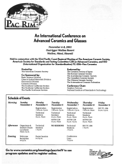PacRim4—An International Conference on Advanced Ceramics and Glass