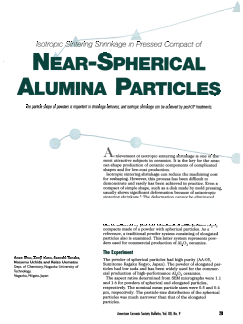 Isotropic sintering shrinkage in pressed compact of near-spherical alumina particles