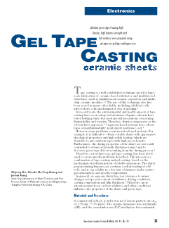 Gel Tape Casting Ceramic Sheets