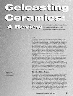 Gelcasting ceramics: A review