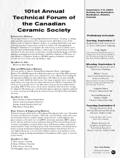 101st Annual Technical Forum of the Canadian Ceramic Society