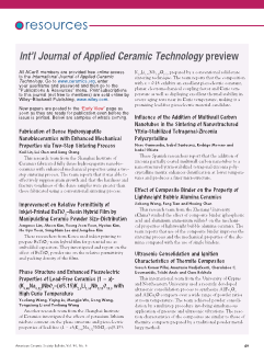 Journal of the American Ceramic Society preview