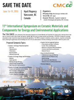 11th International Symposium on Ceramic Materials and Components for Energy and Environmental Applications