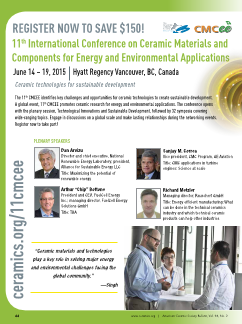 11th CMCEE: International Conference on Ceramic Materials and Components for Energy and Environmental Applications