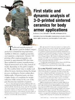 First static and dynamic analysis of 3-D-printed sintered ceramics for body armor applications