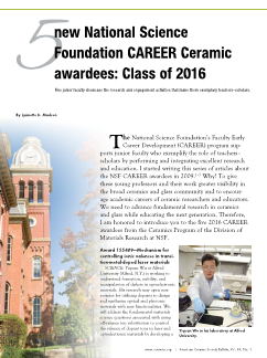 5 new National Science Foundation CAREER Ceramic awardees: Class of 2016